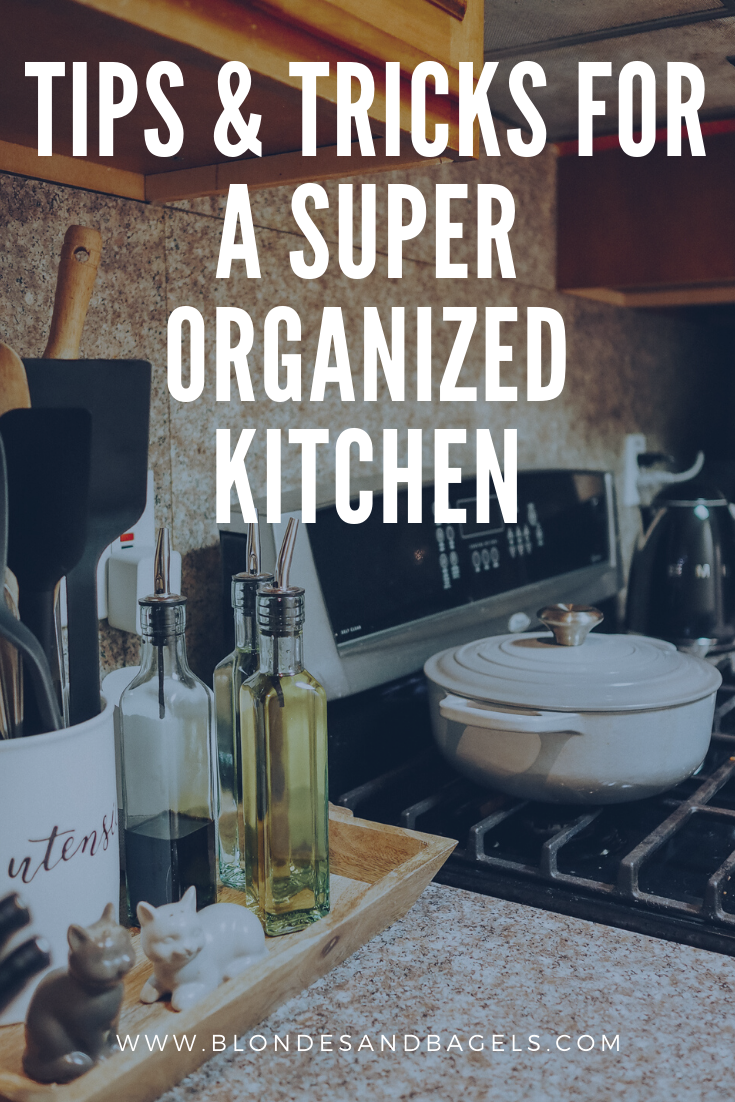 Lifestyle blogger Kelsey from Blondes & Bagels talks about easy ways to organize your kitchen. Read more for kitchen organization tips and tricks!